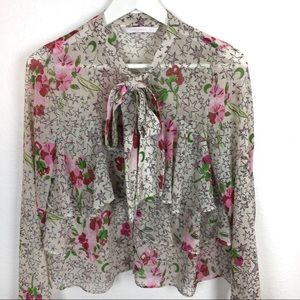 Ruffle & Bow Zara Top With Floral Star Print 70's